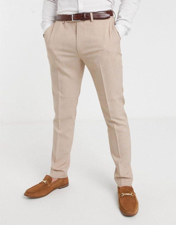 ASOS DESIGN wedding skinny suit pants in crosshatch in camel-Beige