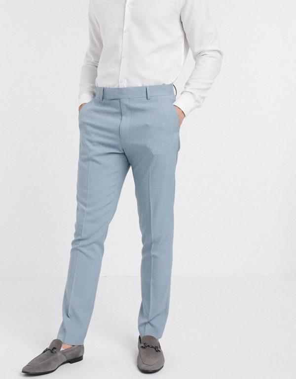 ASOS DESIGN wedding skinny suit pants in crosshatch in soft blue