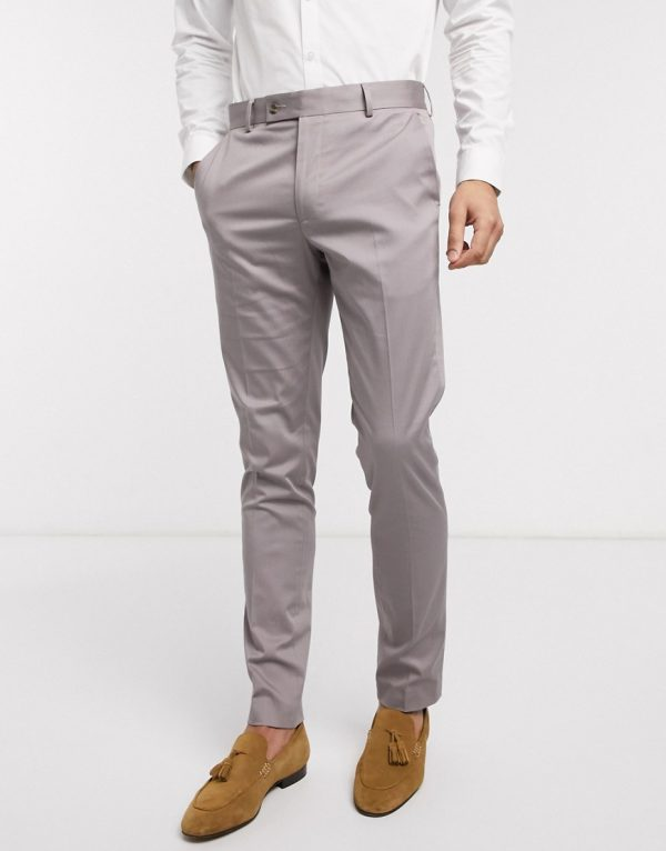 ASOS DESIGN wedding skinny suit pants in gray stretch cotton