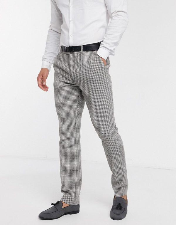 ASOS DESIGN wedding skinny suit pants in gray wool blend micro houndstooth