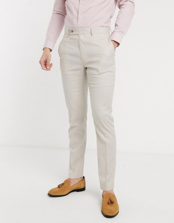 ASOS DESIGN wedding skinny suit pants in stretch cotton linen in stone