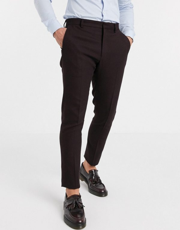ASOS DESIGN wedding skinny suit pants in wool look in burgundy-Red