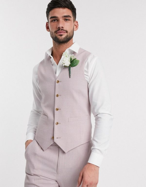 ASOS DESIGN wedding skinny suit suit vest in crosshatch in rose pink