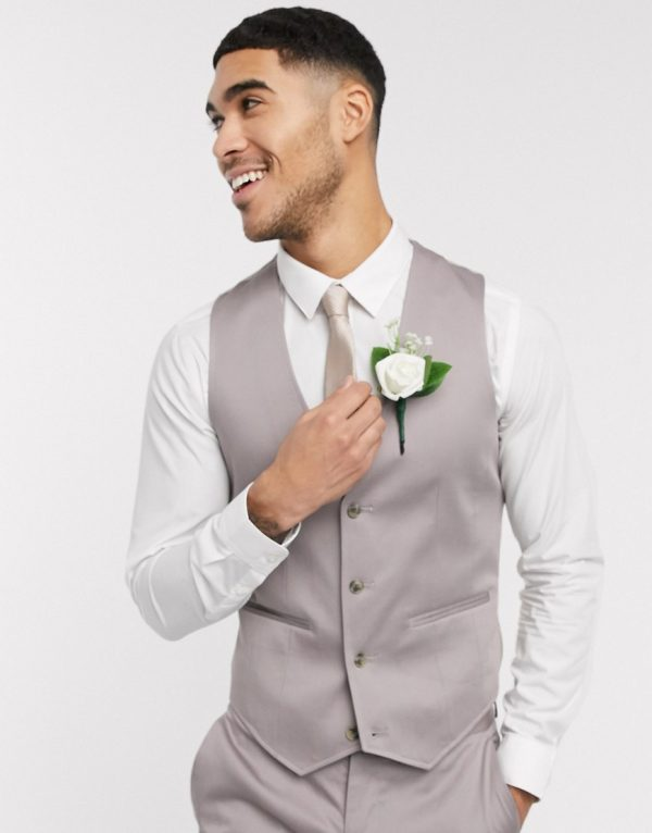 ASOS DESIGN wedding skinny suit suit vest in gray stretch cotton