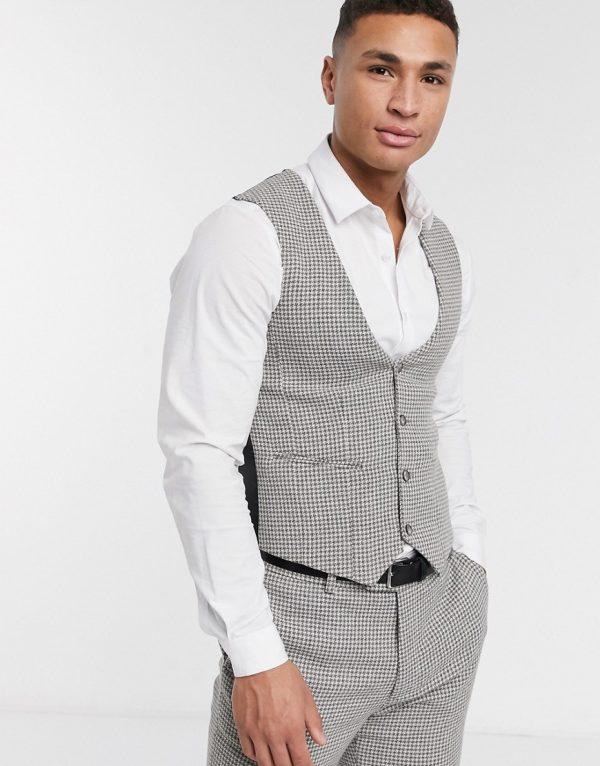 ASOS DESIGN wedding skinny suit suit vest in gray wool blend micro houndstooth