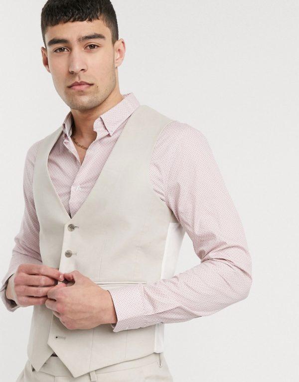 ASOS DESIGN wedding skinny suit suit vest in stretch cotton linen in stone