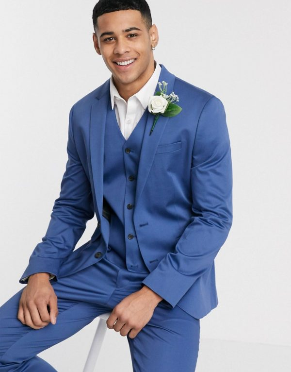 ASOS DESIGN wedding slim suit jacket in blue stretch cotton