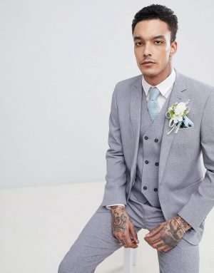ASOS DESIGN wedding slim suit jacket in mid gray cross hatch with printed lining