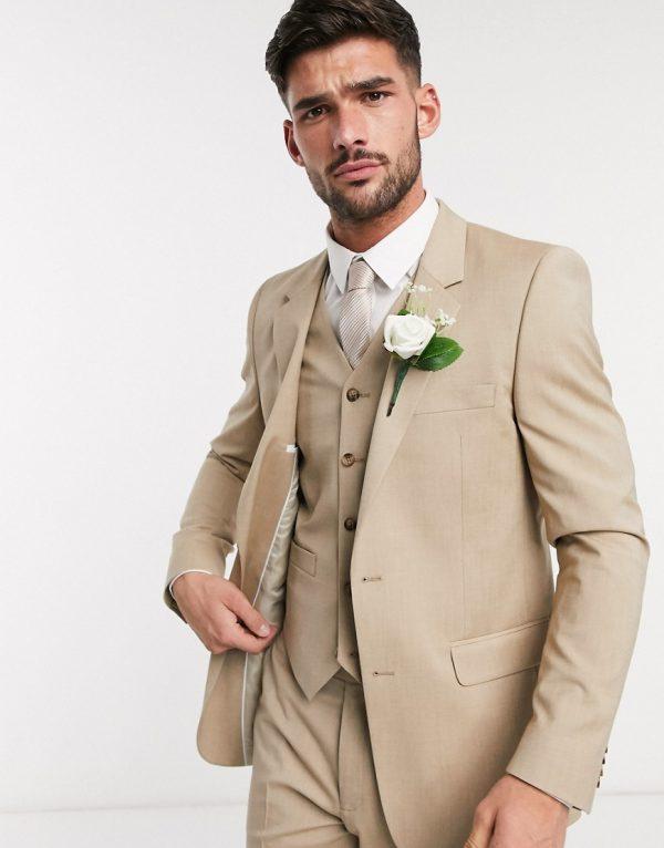ASOS DESIGN wedding slim suit jacket in stone