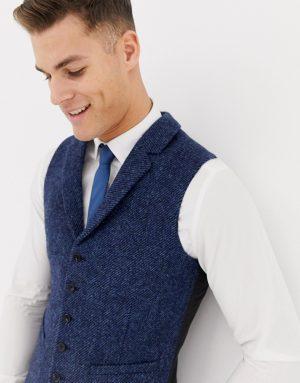 ASOS DESIGN wedding slim suit vest in 100% wool Harris Tweed in navy twill