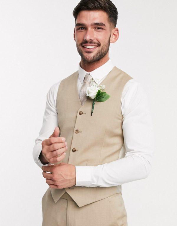 ASOS DESIGN wedding slim suit vest in stone