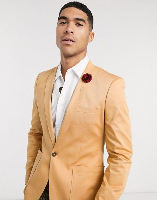 ASOS DESIGN wedding super skinny cotton blazer in camel-Tan