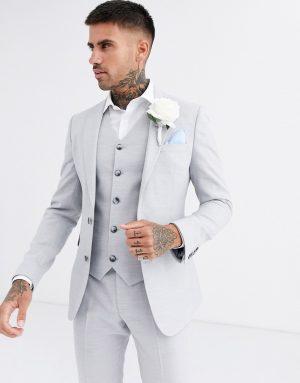 ASOS DESIGN wedding super skinny suit jacket in ice gray micro texture