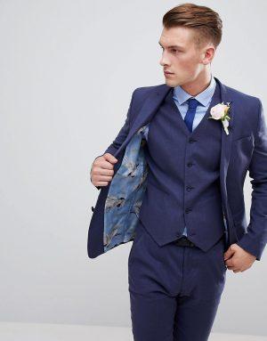 ASOS DESIGN wedding super skinny suit jacket in indigo linen-Navy