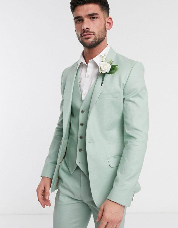 ASOS DESIGN wedding super skinny suit jacket in stretch cotton linen in mint green