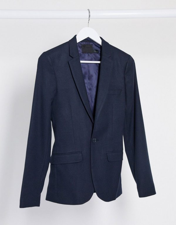 ASOS DESIGN wedding super skinny suit jacket in wool look in navy