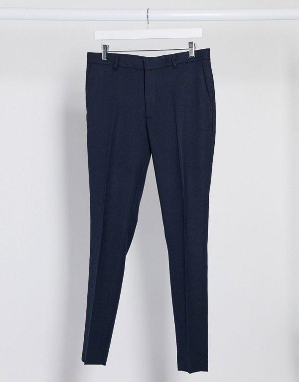 ASOS DESIGN wedding super skinny suit pants in wool look in navy