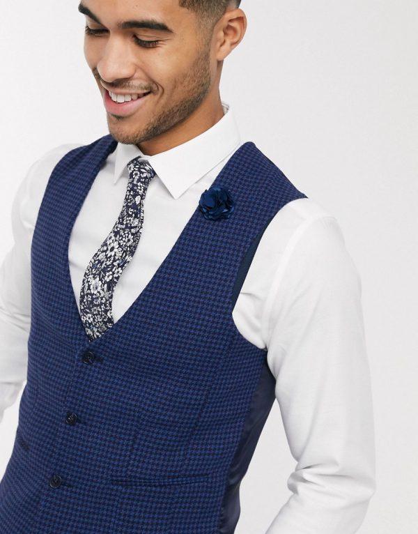 ASOS DESIGN wedding super skinny suit suit vest in blue wool blend micro houndstooth