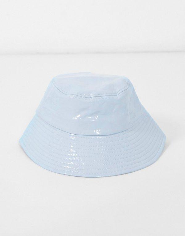 ASOS DESIGN wide brim bucket hat in blue vinyl