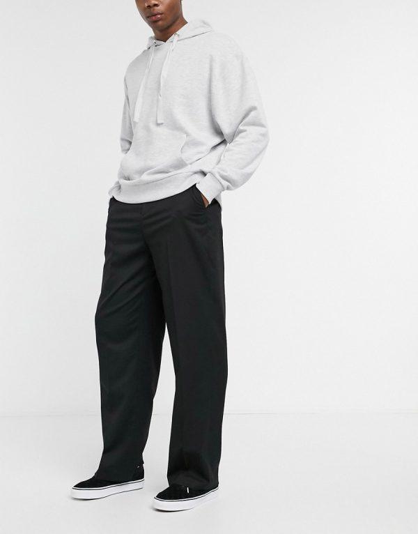 ASOS DESIGN wide leg smart pants in black