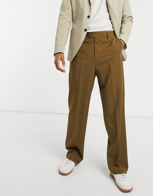 ASOS DESIGN wide leg smart pants in khaki cross hatch-Green