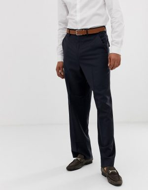 ASOS DESIGN wide leg smart pants in navy 100% wool