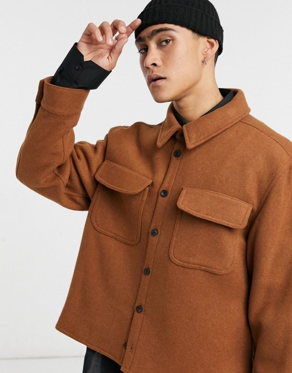 ASOS DESIGN wool-blend shacket in tobacco-Brown
