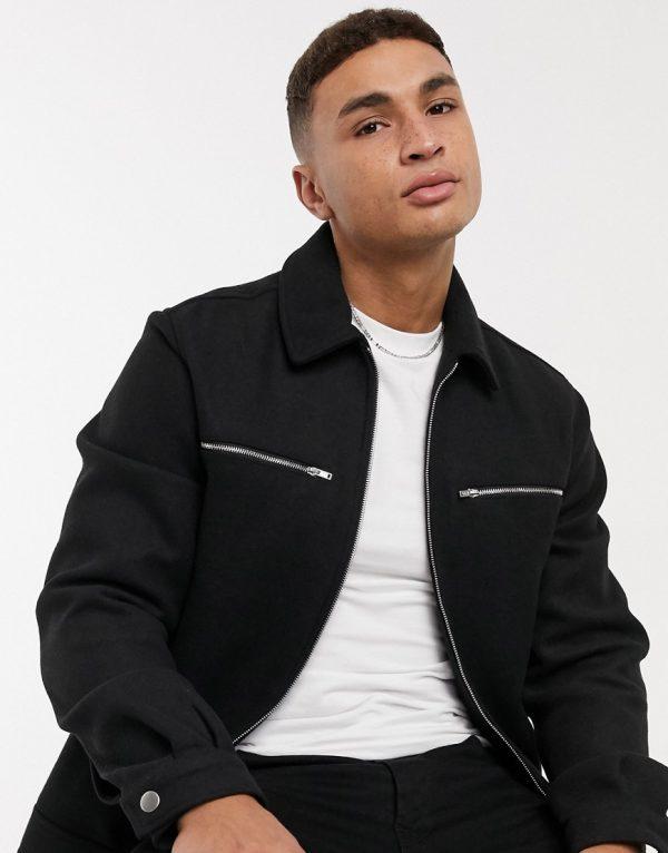 ASOS DESIGN wool-blend shirt jacket in black