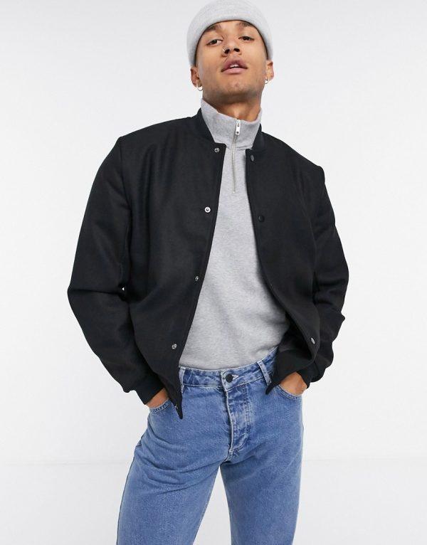 ASOS DESIGN wool-blend varsity jacket in black