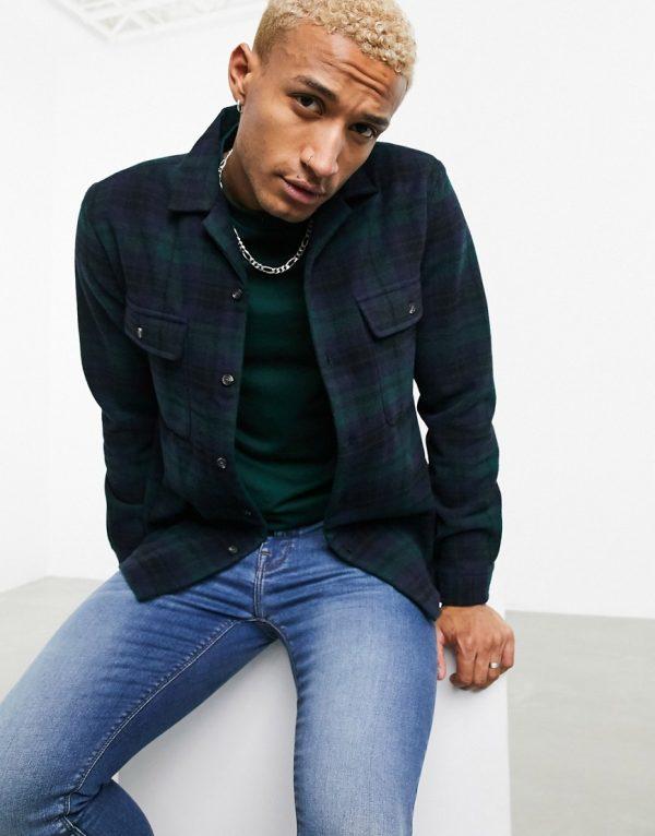 ASOS DESIGN wool heavy overshirt in green plaid tartan with camp collar