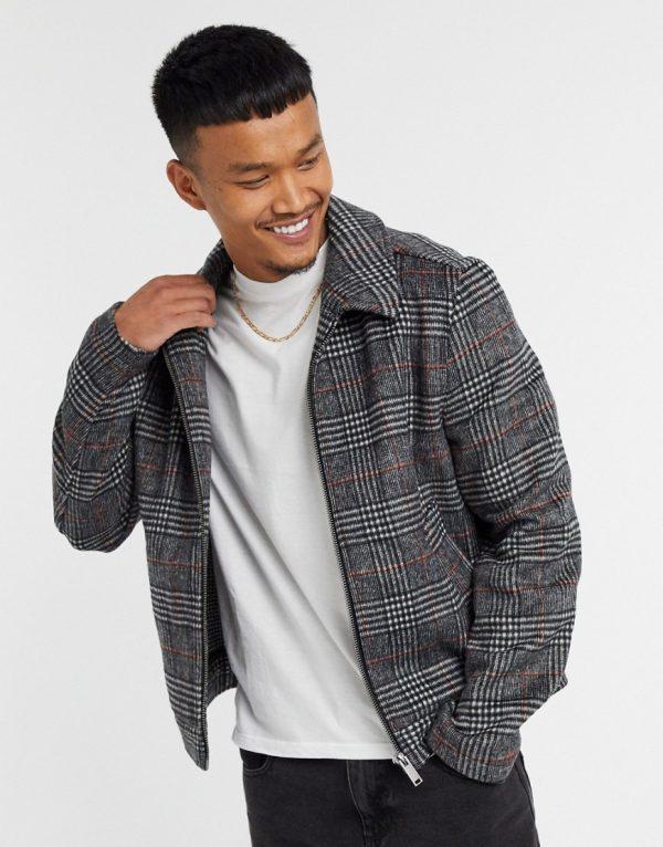 ASOS DESIGN wool mix harrington jacket in gray check