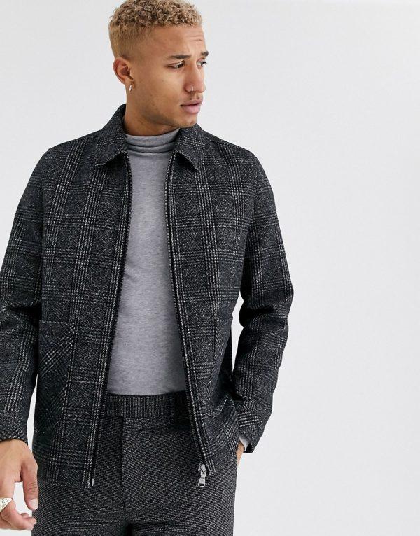 ASOS DESIGN wool mix harrington jacket in gray check-Black