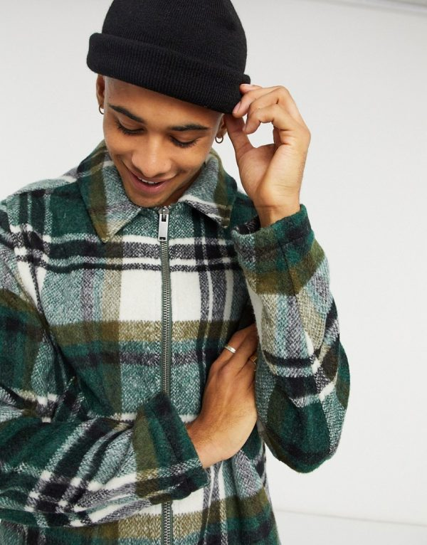ASOS DESIGN wool mix harrington jacket in green and ecru check