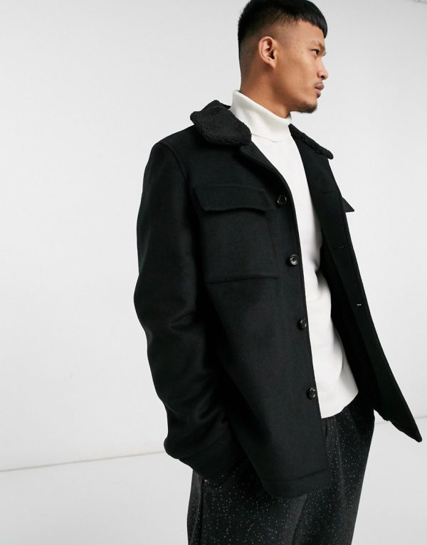 ASOS DESIGN wool mix jacket in black with contrast collar