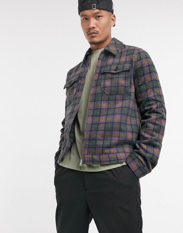 ASOS DESIGN wool mix jacket in brown and blue plaid