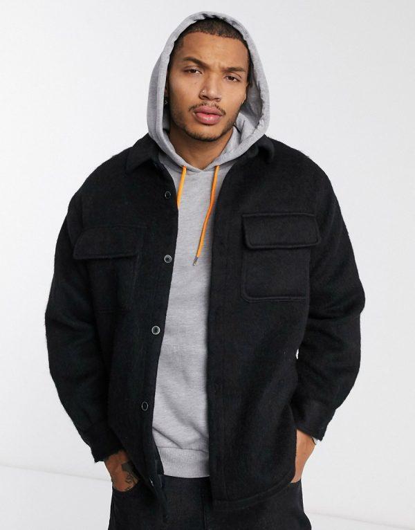 ASOS DESIGN wool mix jacket in brushed black