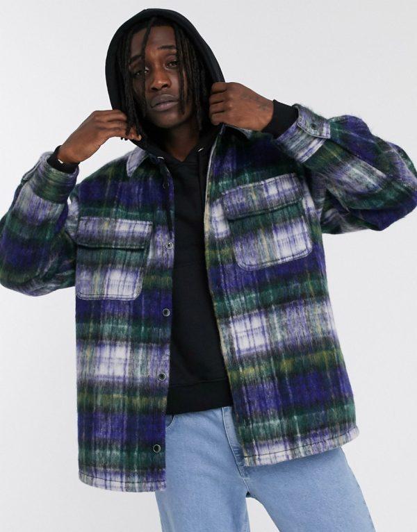 ASOS DESIGN wool mix jacket in brushed blue check