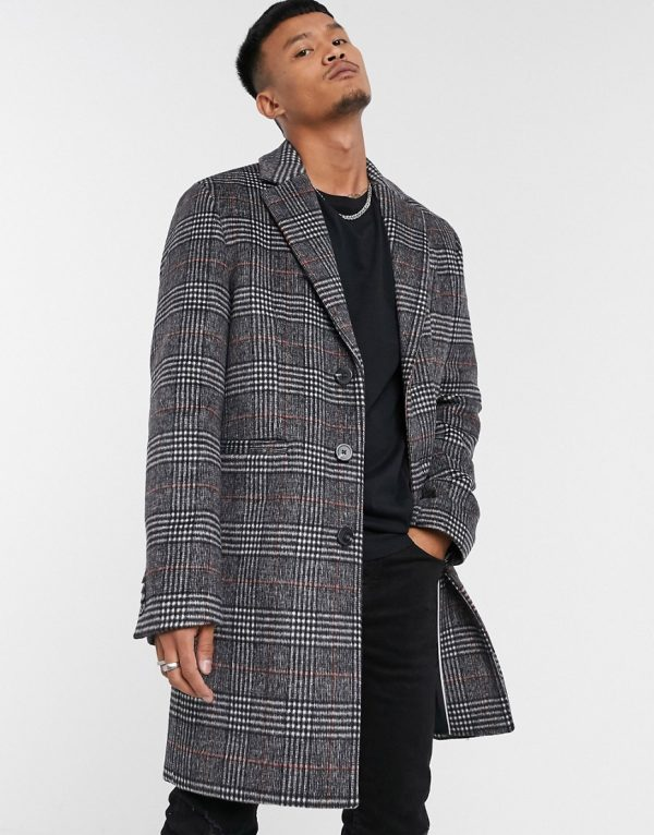 ASOS DESIGN wool mix overcoat in charcoal check-Black