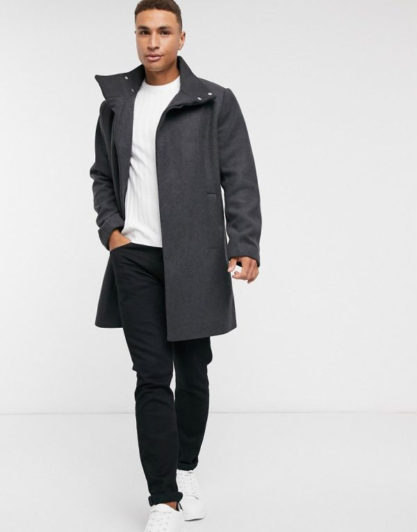 ASOS DESIGN wool mix overcoat with funnel neck in charcoal-Black