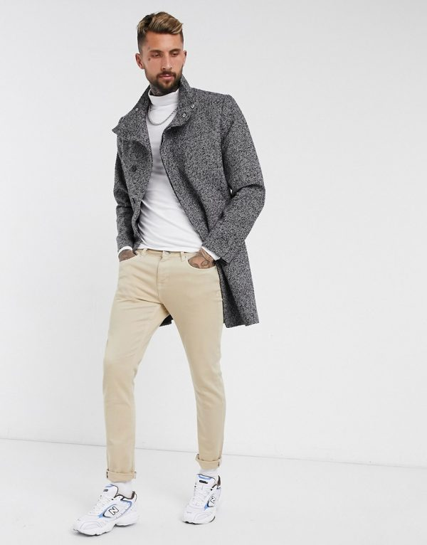 ASOS DESIGN wool mix overcoat with funnel neck in salt and pepper-Gray