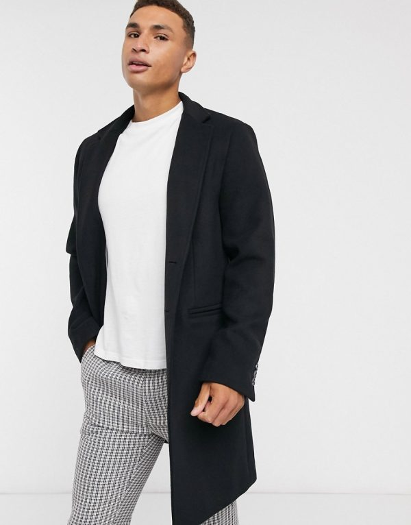 ASOS DESIGN wool mix overcoat with inverted lapel in black