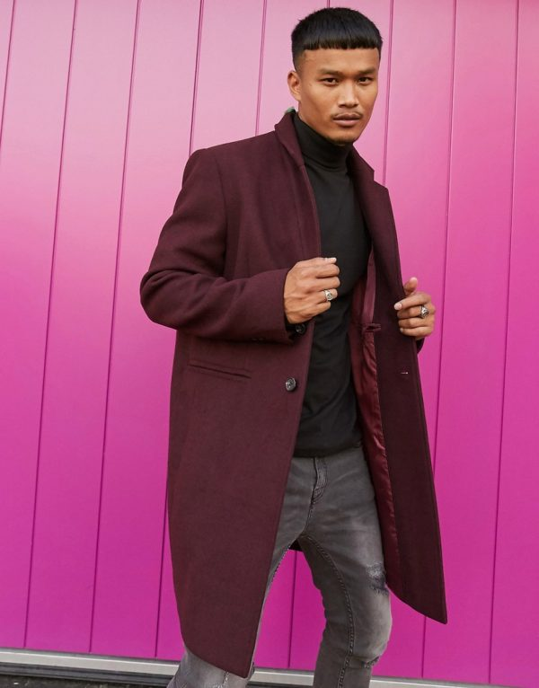 ASOS DESIGN wool mix overcoat with inverted lapel in port-Red
