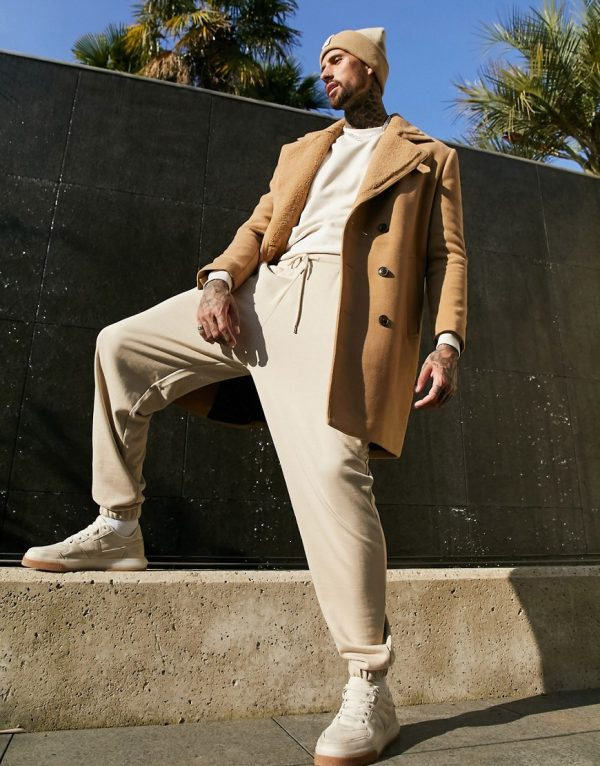 ASOS DESIGN wool mix overcoat with teddy lining in camel-Brown