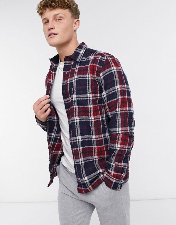 ASOS DESIGN wool mix overshirt in navy plaid