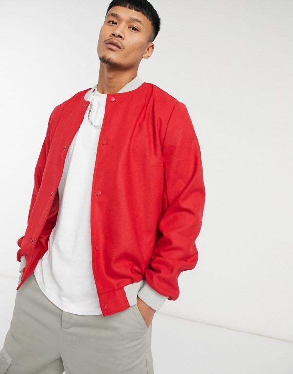 ASOS DESIGN wool varsity jacket in red