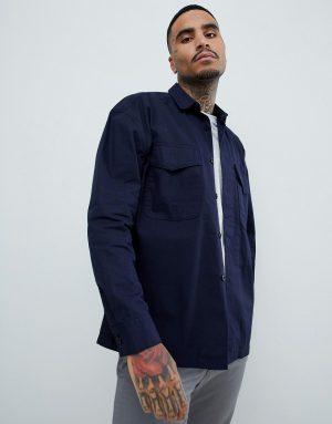 ASOS DESIGN worker overshirt in navy