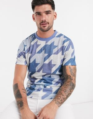 ASOS DESIGN zip neck t-shirt with all over dogstooth print in linen look-Multi