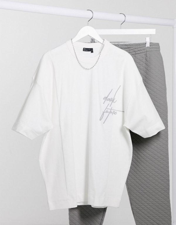 ASOS Dark Future oversized longline t-shirt with rib inserts and logo embroidery-White