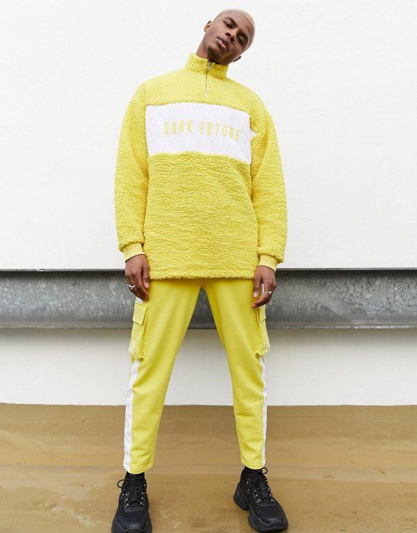 ASOS Dark Future two-piece borg half zip sweatshirt with embroidery-Yellow