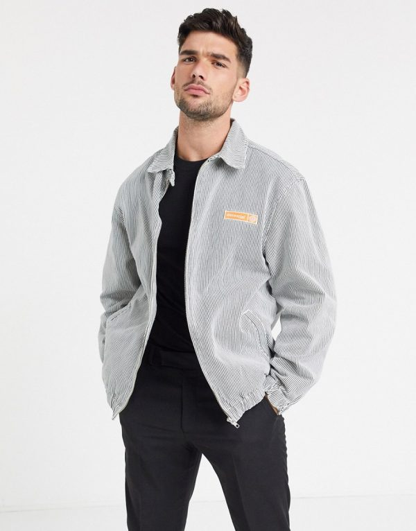 ASOS Day Social denim harrington jacket in white pinstripe